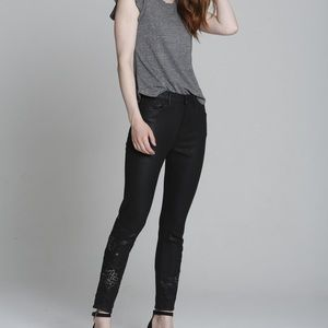 Driftwood Jackie High Rise Floral Black Jeans 30